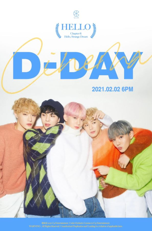 Image of CIX in sweaters, posing in a teaser image that was released on the day ahead of their fourth mini-album (Hello Chapter Ø. Hello, Strange Dream) and title track, Cinema.